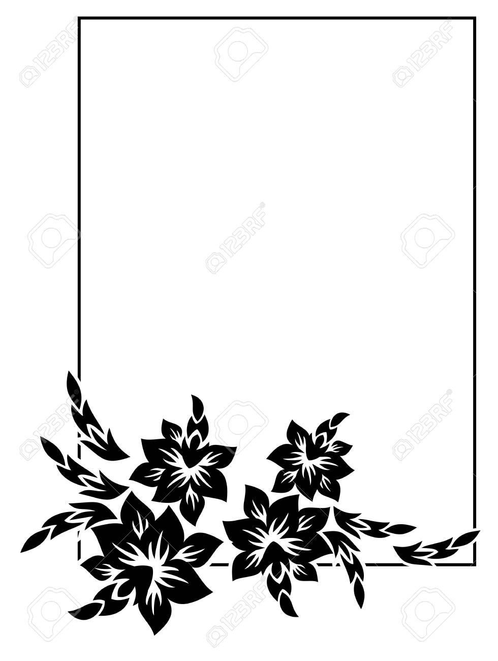 5937bed3a8 Archivio Fotografico - Cornice silhouette in bianco e nero con fiori  decorativi. ClipArt vettoriali