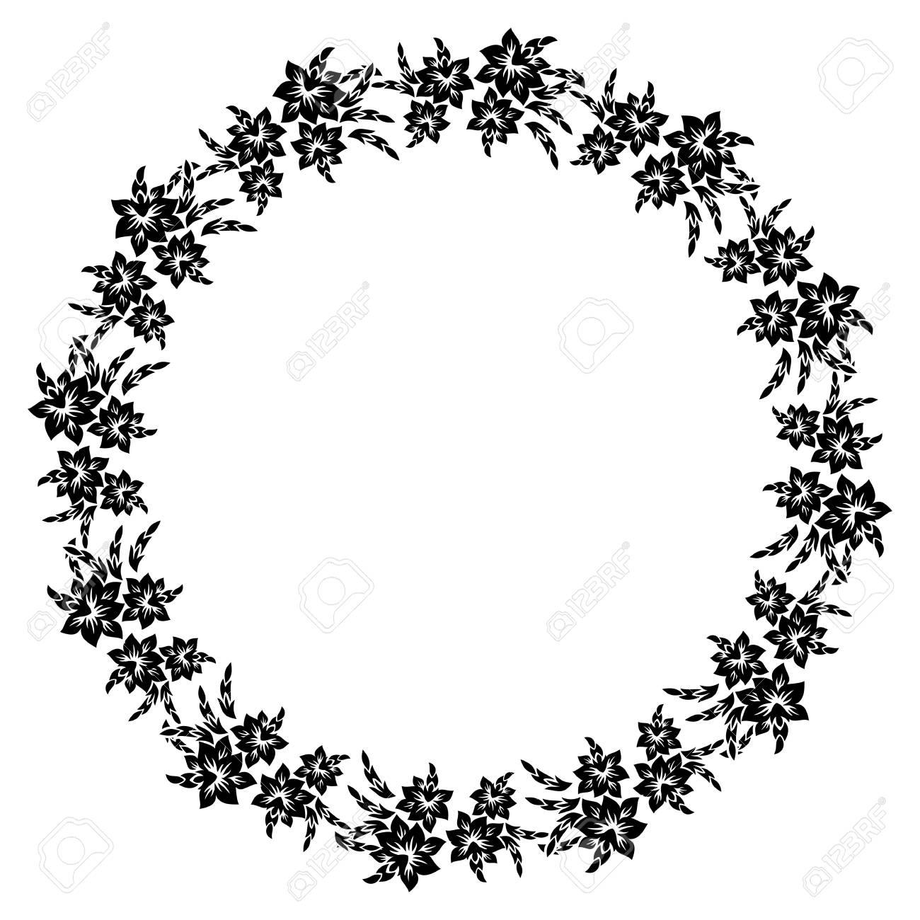 Silueta En Blanco Y Negro Marco Redondo Con Flores Decorativas ...