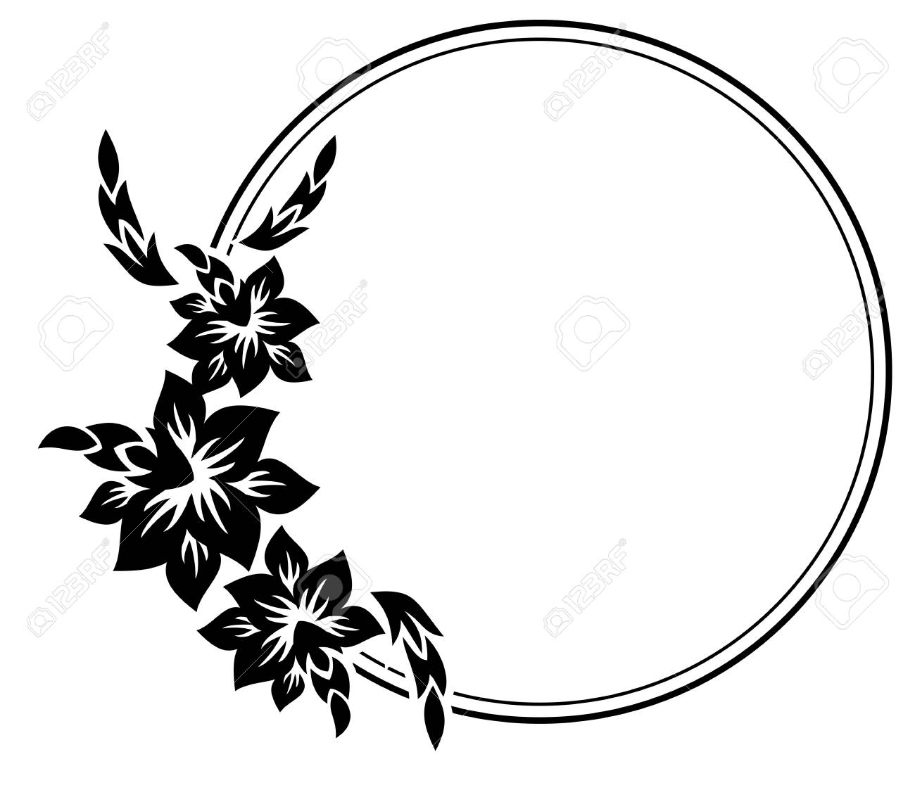 black and white silhouette round frame with decorative flowers rh 123rf com Decorative Line Clip Art decorative flower clipart vector