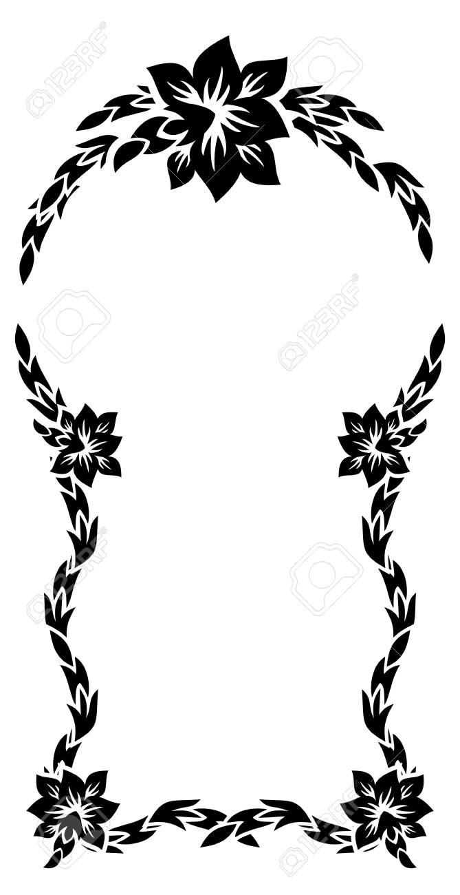 black and white silhouette frame with decorative flowers vector rh 123rf com Decorative Line Clip Art Decorative Borders Clip Art