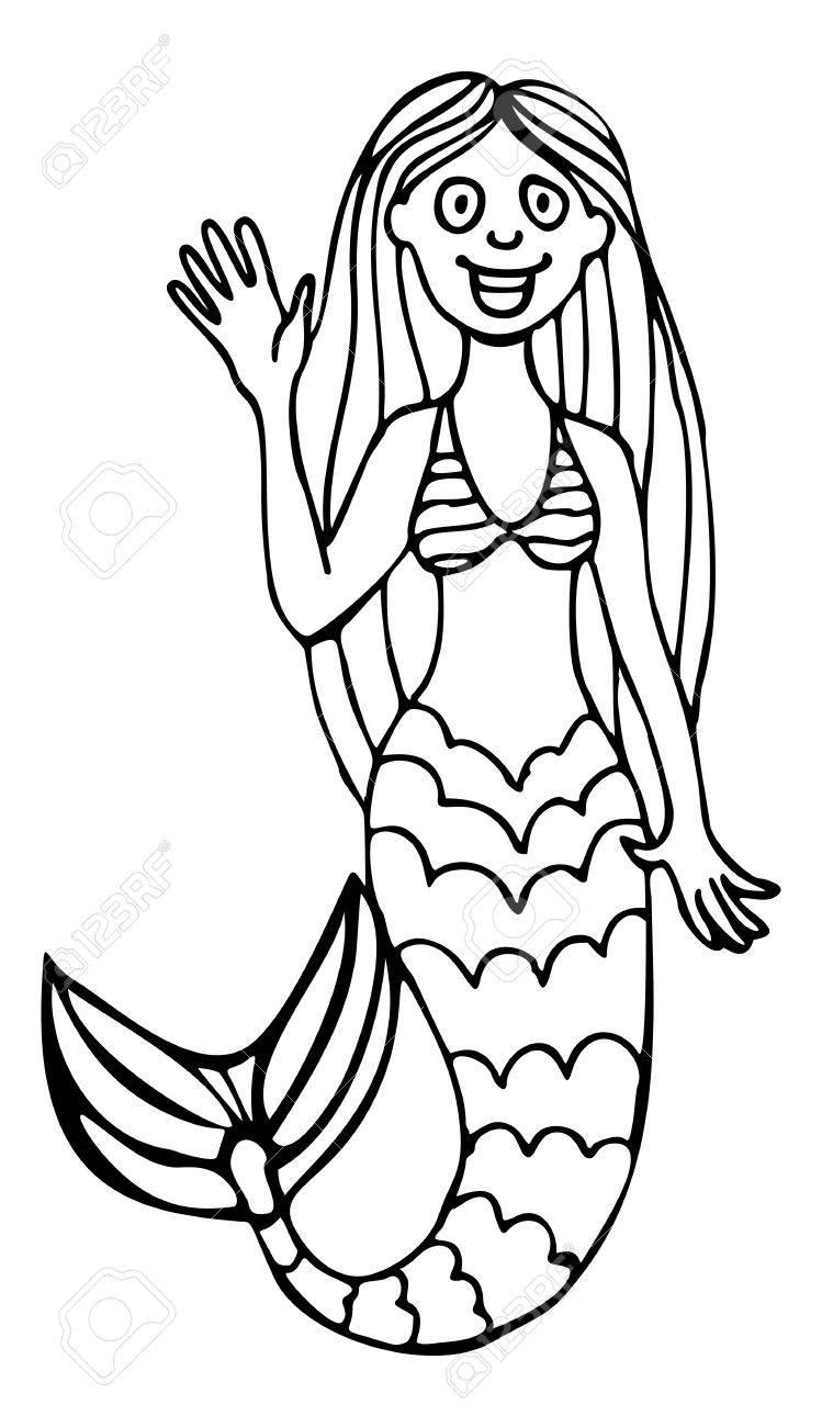 Cartoon Pretty Mermaid Contour Image Vector Clip Art Royalty Free Rh 123rf  Com Mermaid Clipart Black And White Free Little Mermaid Clipart Black And  White