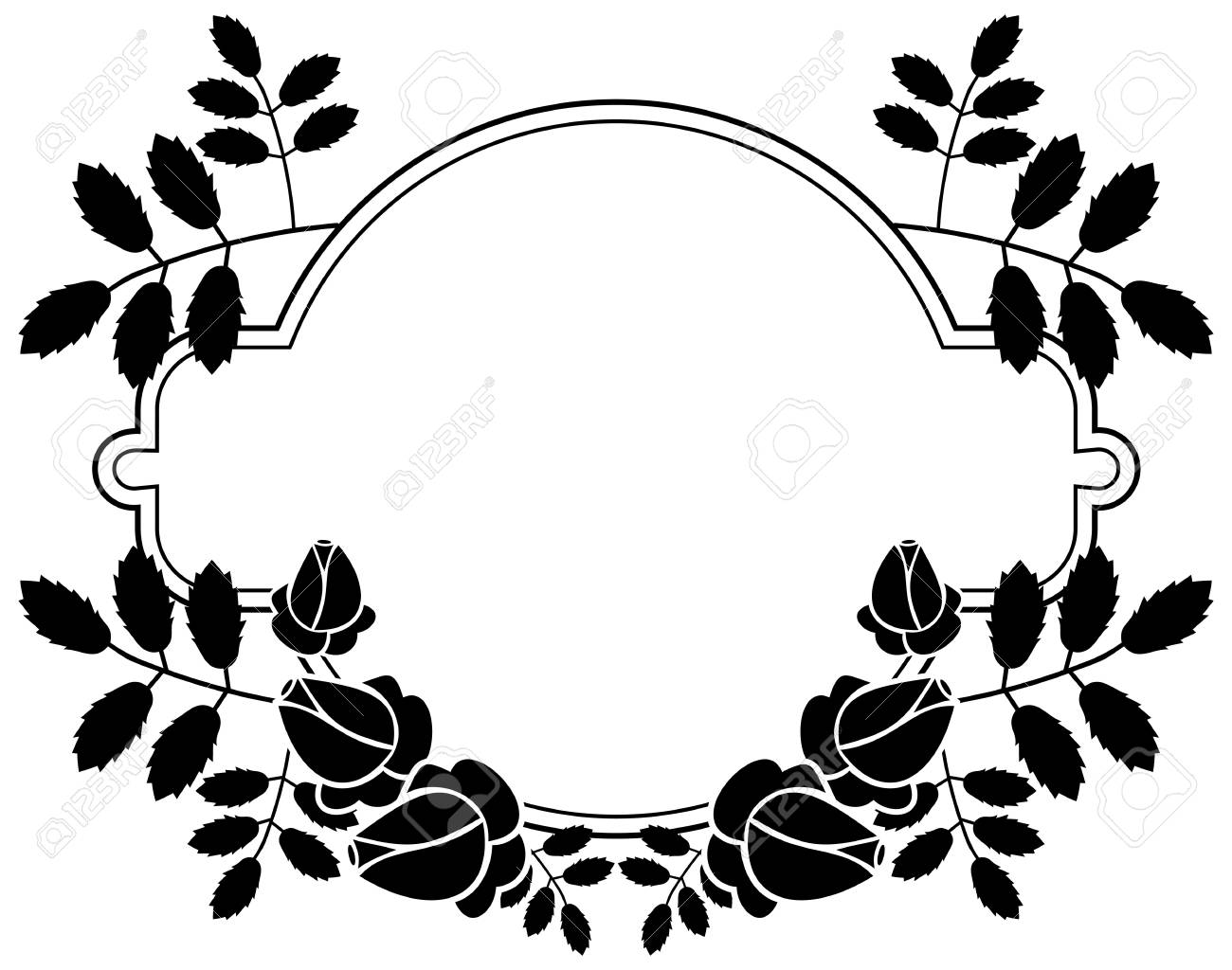 Black And White Silhouette Floral Frame Ornament For Laser