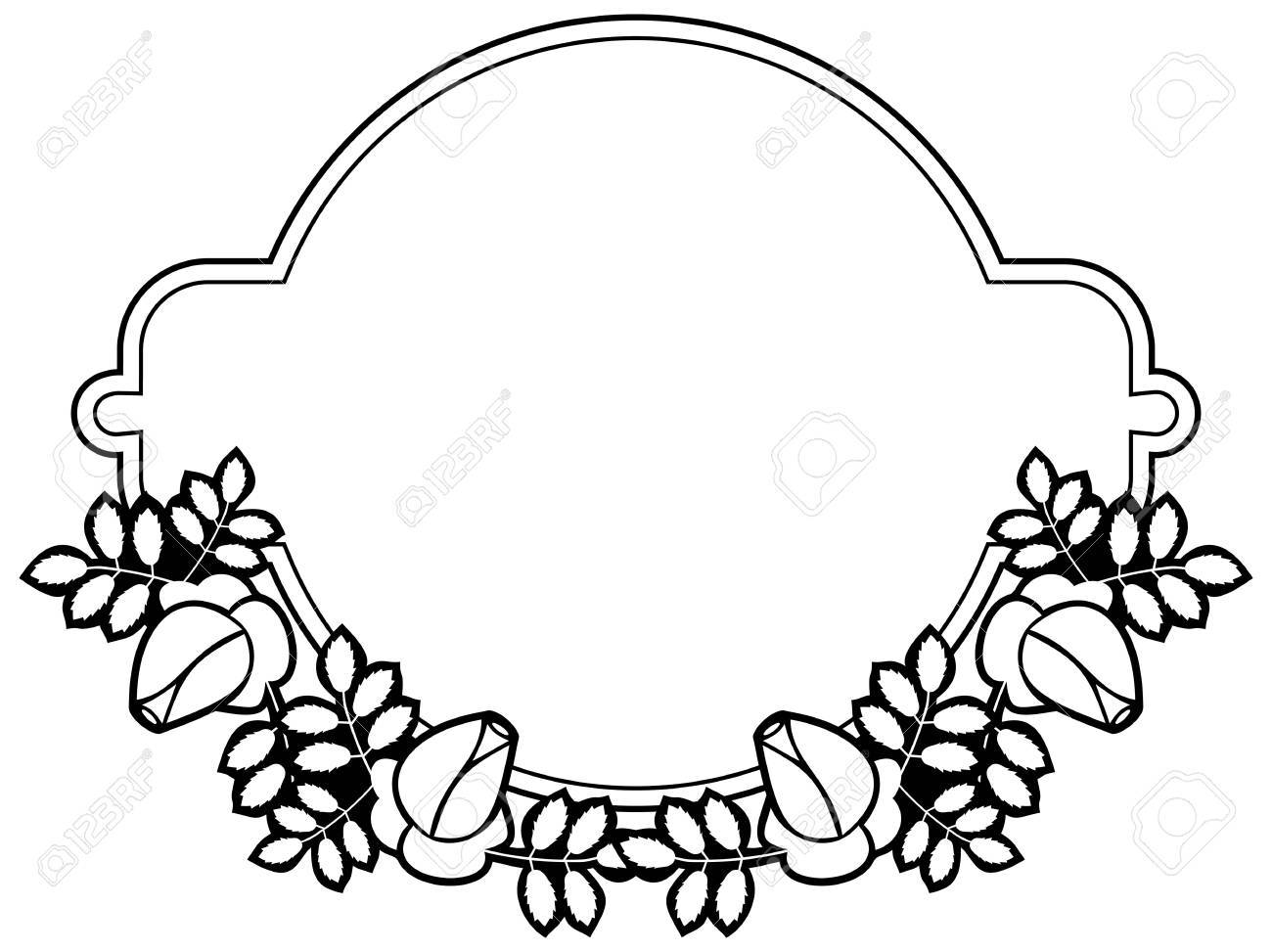 Black And White Silhouette Floral Frame. Ornament For Laser ...