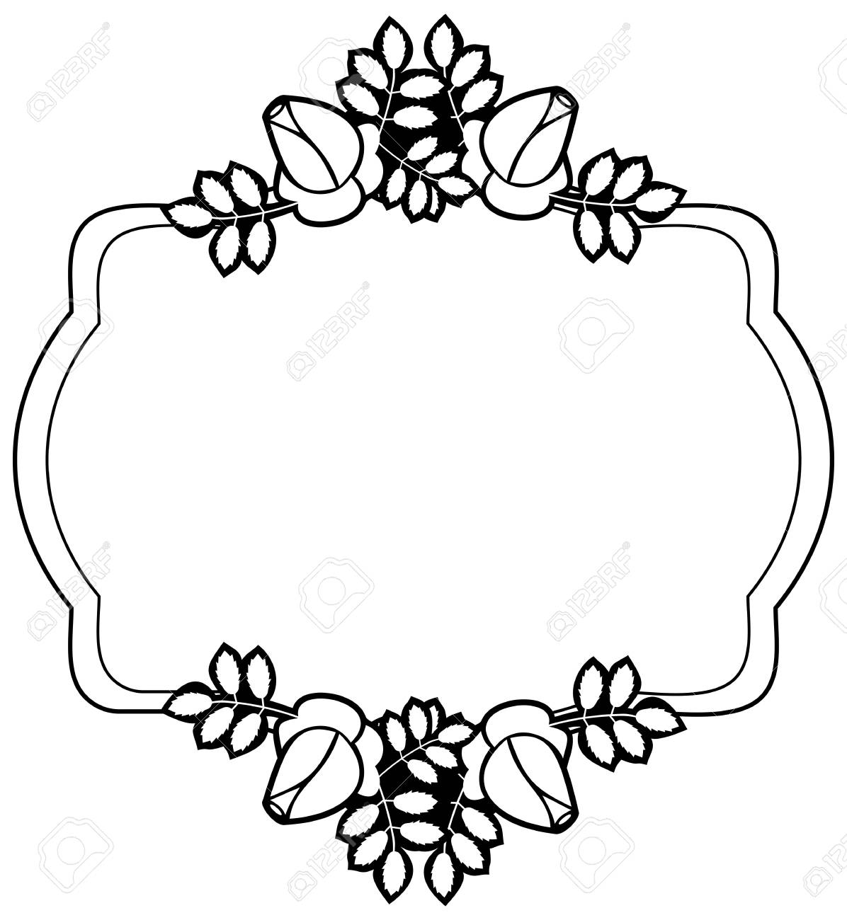 Black And White Silhouette Floral Square Frame. Ornament For ...