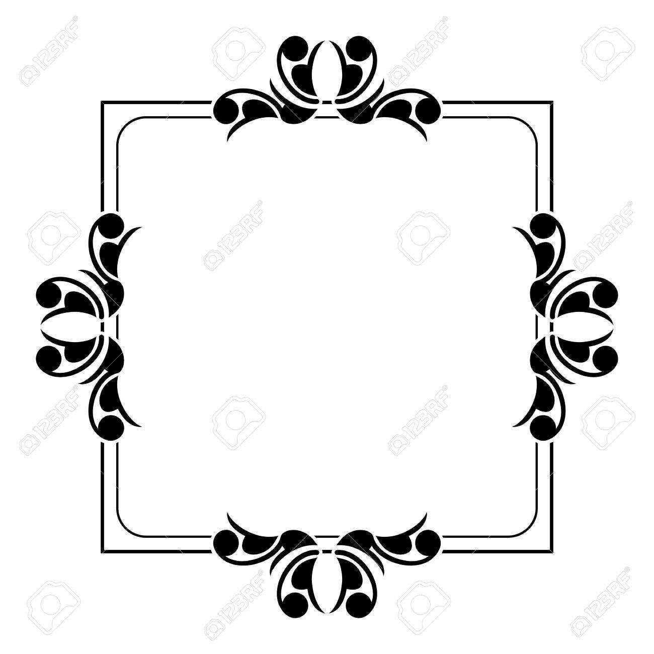 Schwarz Weiß Silhouette Rahmen Mit Dekorativen Blumen Vektor Clip