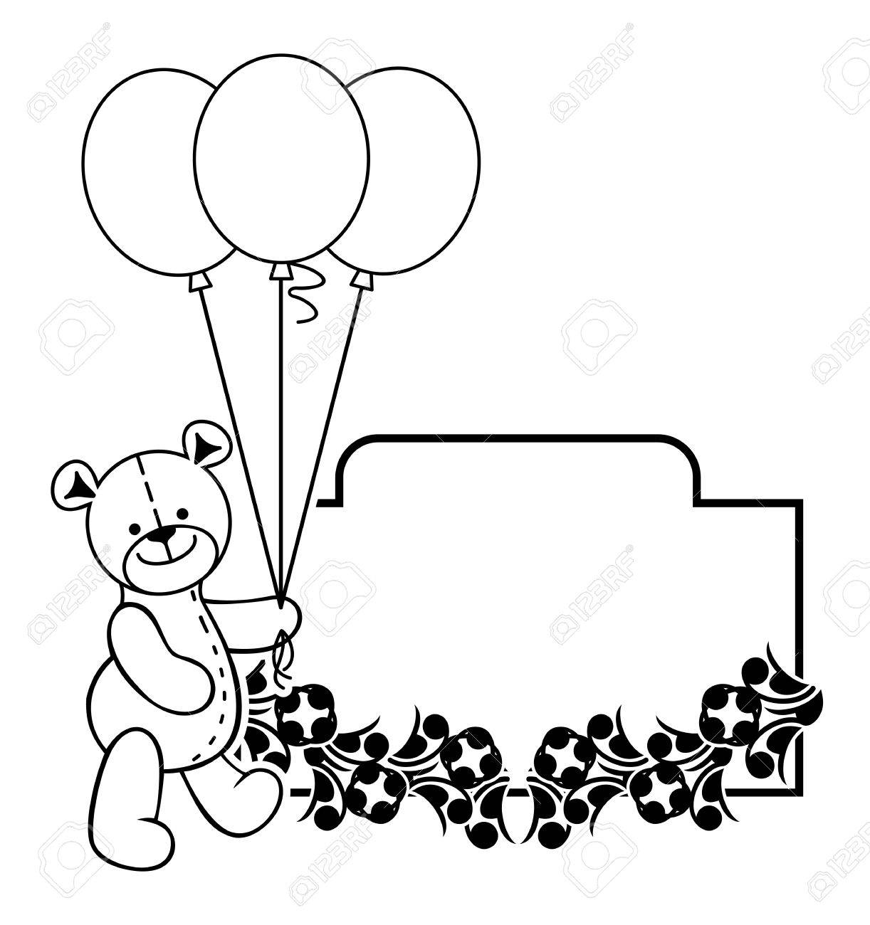 black and white frame with teddy bear plush toy vector clip rh 123rf com Girl Clip Art Black and White cute teddy bear clipart black and white