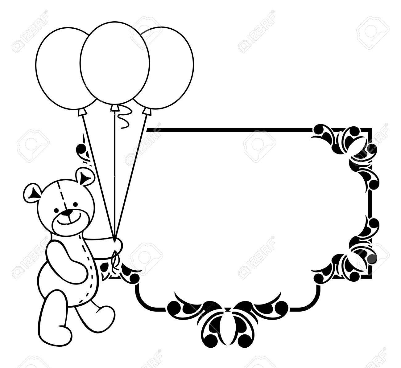 Schwarz-Weiß-Rahmen Mit Teddybär Plüschtier. Vektor Clip Art ...