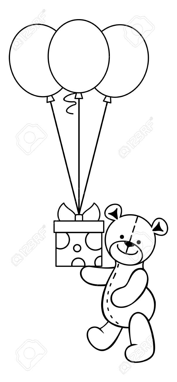 Teddy Bear Toy With T Box And Balloons Vector Clip Art Royalty