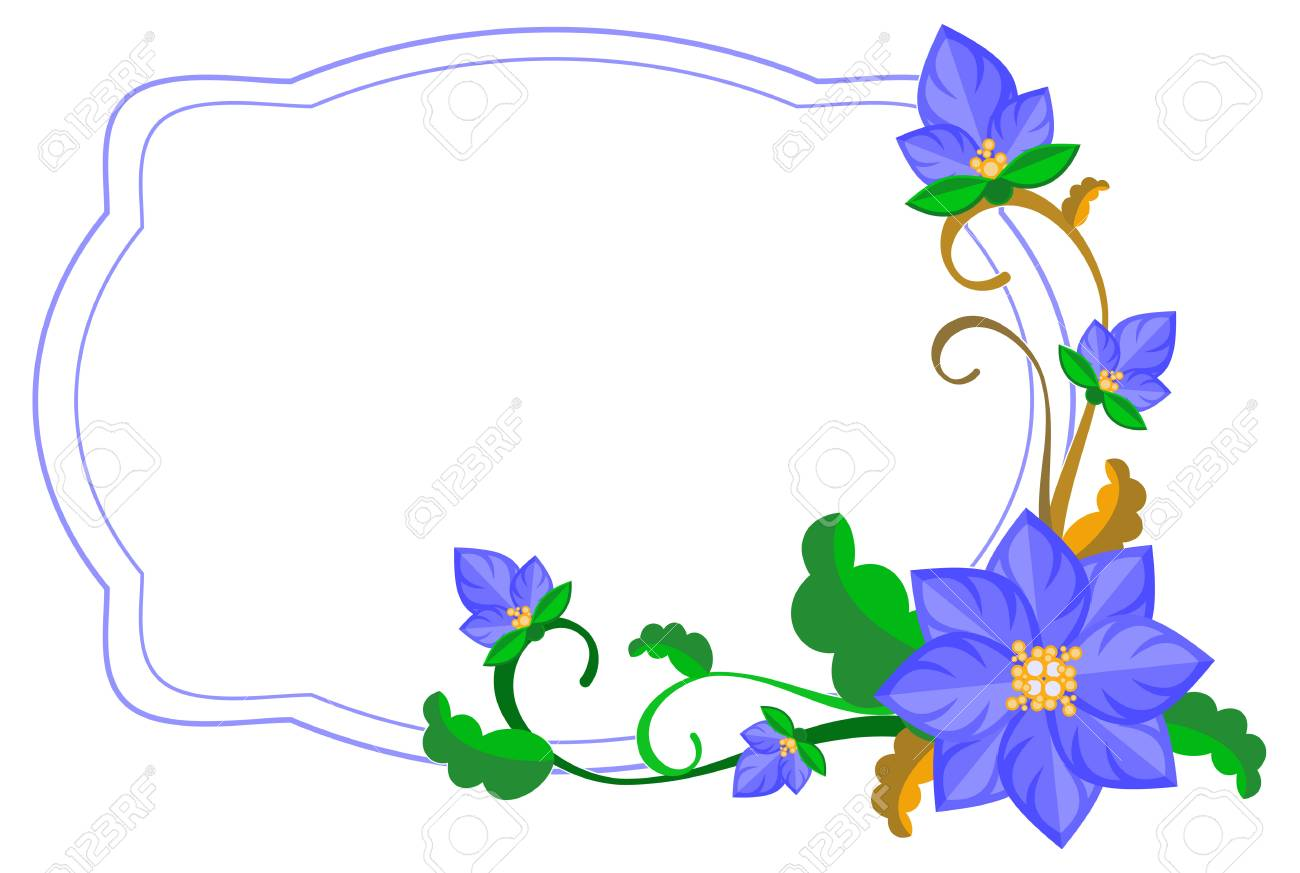 Decorative Frame With Abstract Blue Flowers Vector Clip Art