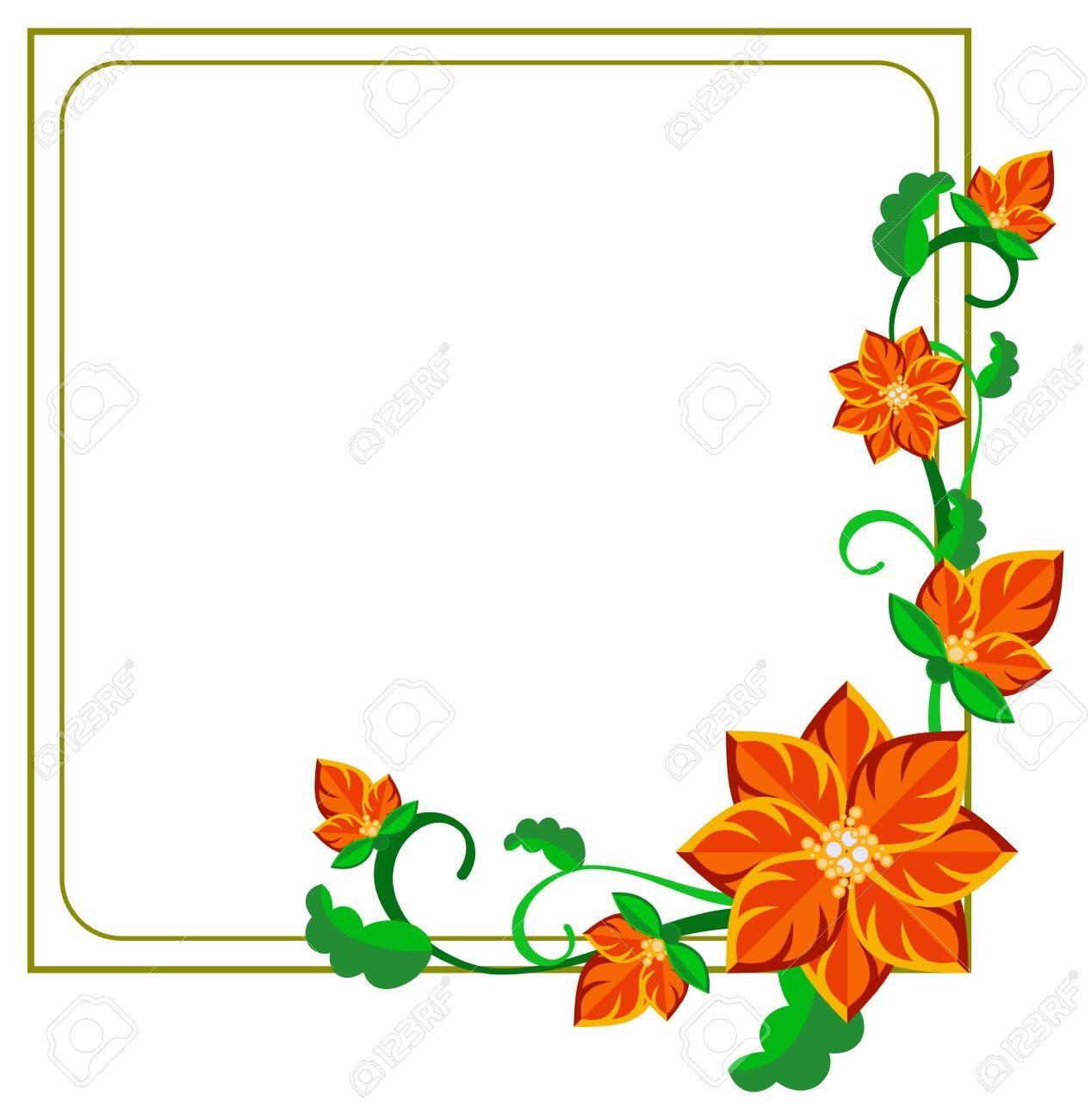 Quadratischer Dekorativer Rahmen Mit Abstrakten Roten Blüten. Vektor ...
