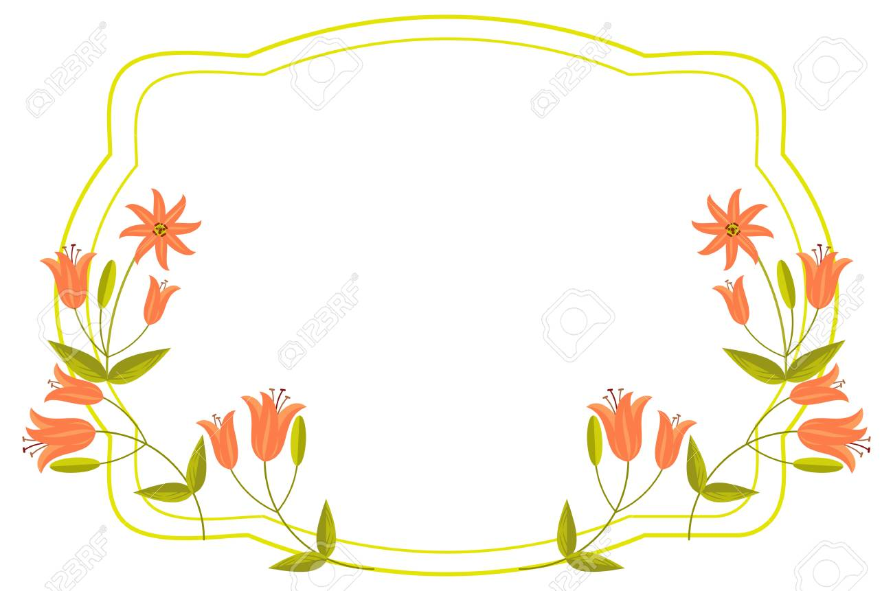 Elegant Wedding Frame With Orange Lilies Vector Clip Art Royalty Rh 123rf Com Floral Clipart
