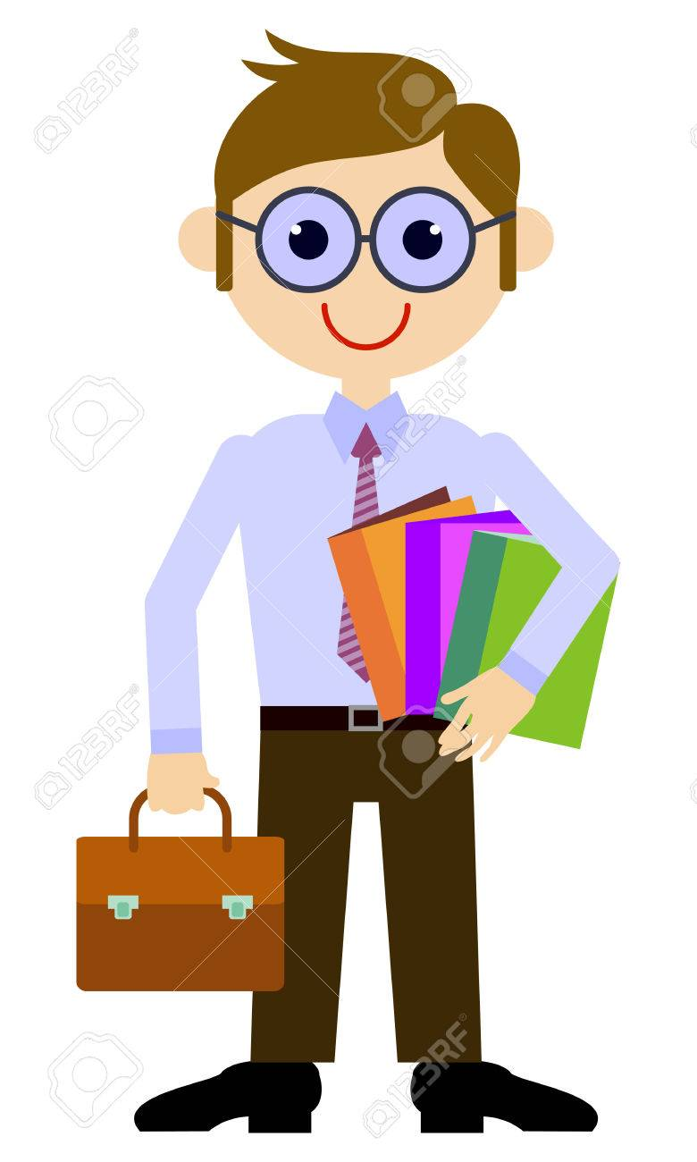 teacher with a briefcase and books vector clip art royalty free rh 123rf com free clipart of a teacher clipart of a teachers apple