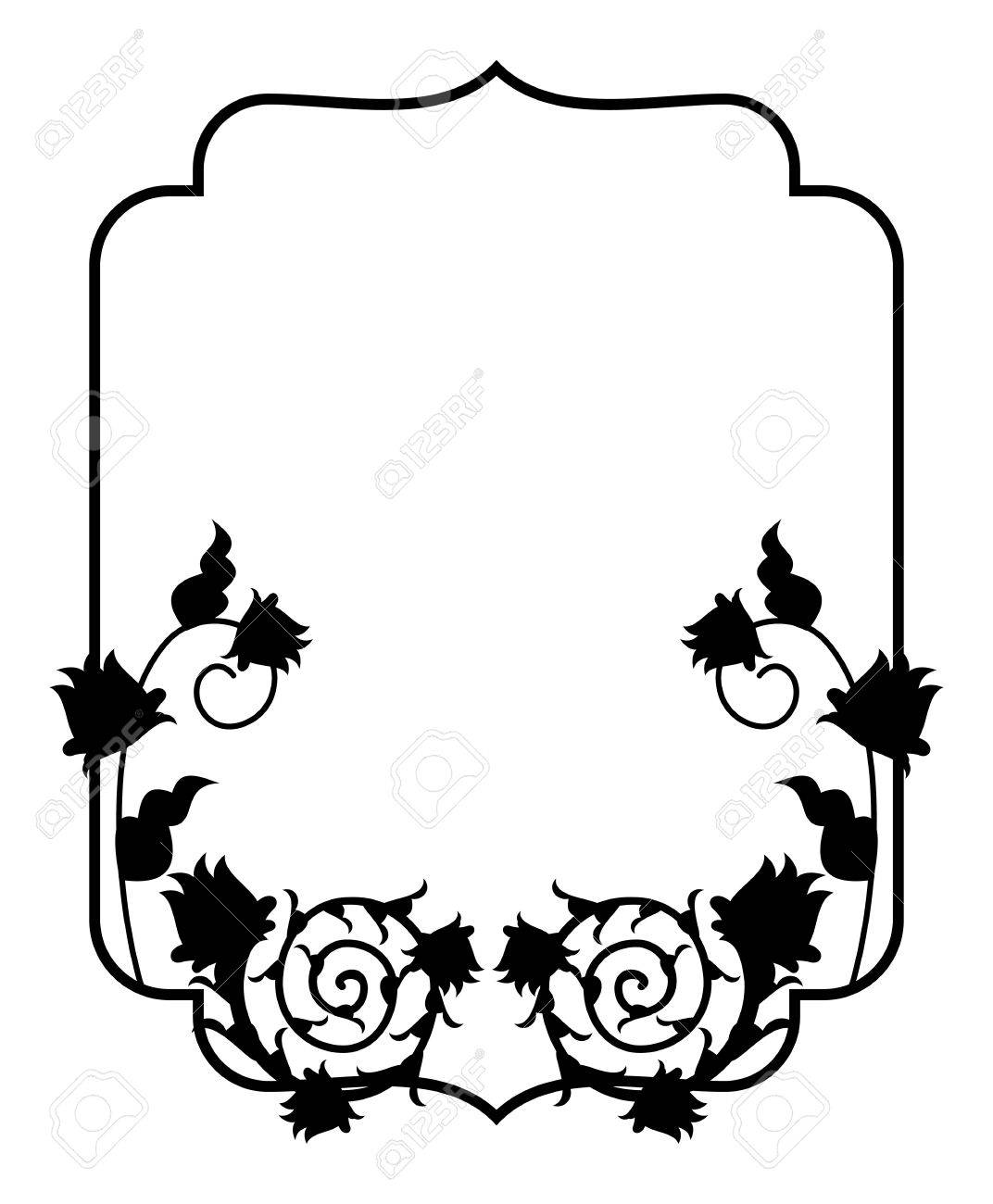 black and white silhouette floral frame vector clip art royalty rh 123rf com picture frame vector ai photo frame vector free download