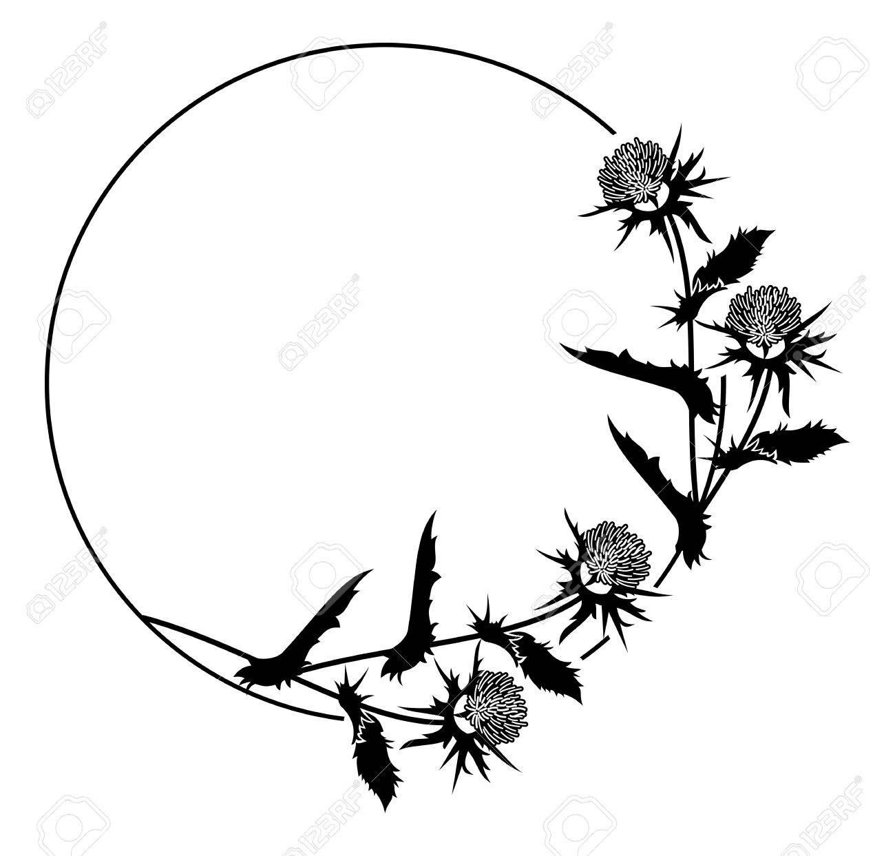 round frame with thistle silhouette vector clip art royalty free rh 123rf com thistle clipart free thistle clipart black and white