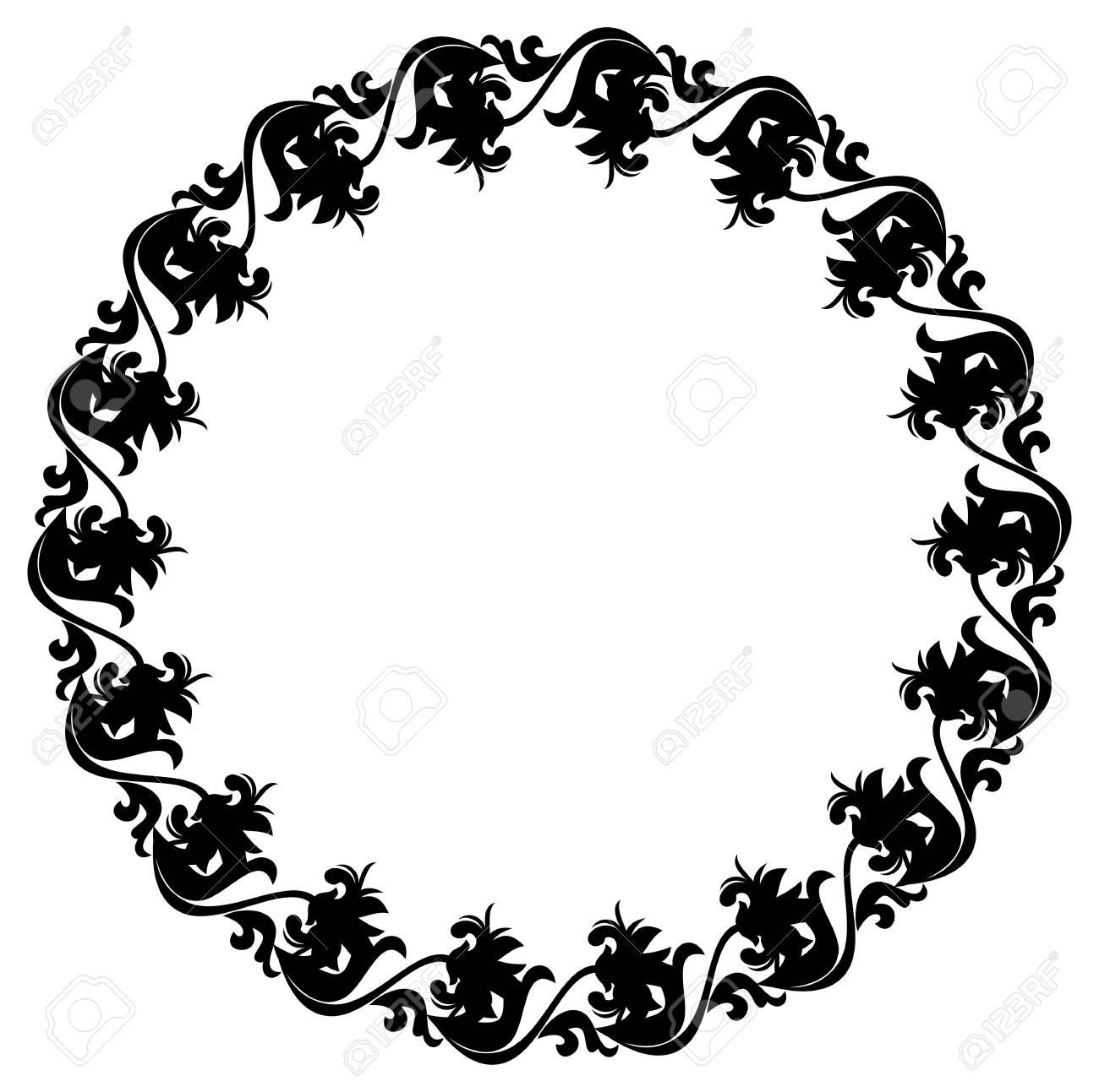a55f3dab32 Archivio Fotografico - In bianco e nero silhouette cornice rotonda con  fiori decorativi. Vettore clip art.