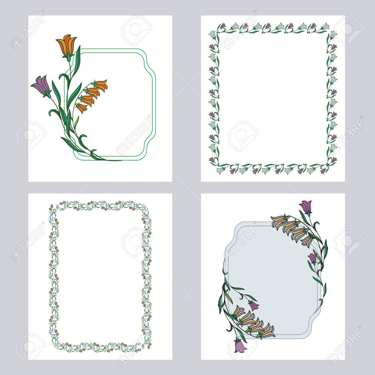 色花の縦フレームのセットですバナーラベル印刷ポスターweb