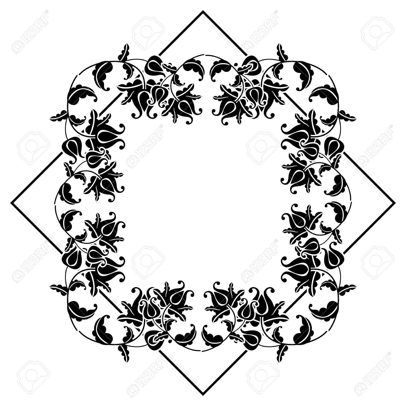 Schwarz-Weiß-Quadrat Rahmen Mit Blumen. Platz Kopieren Design ...