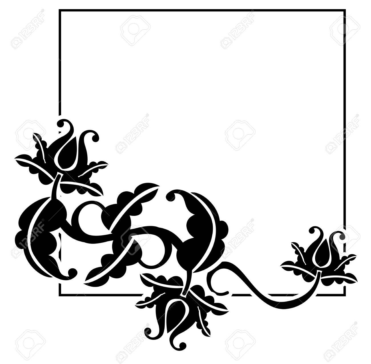 Schwarzer Und Weißer Quadratischer Rahmen Mit Blumen. Kopieren Sie ...