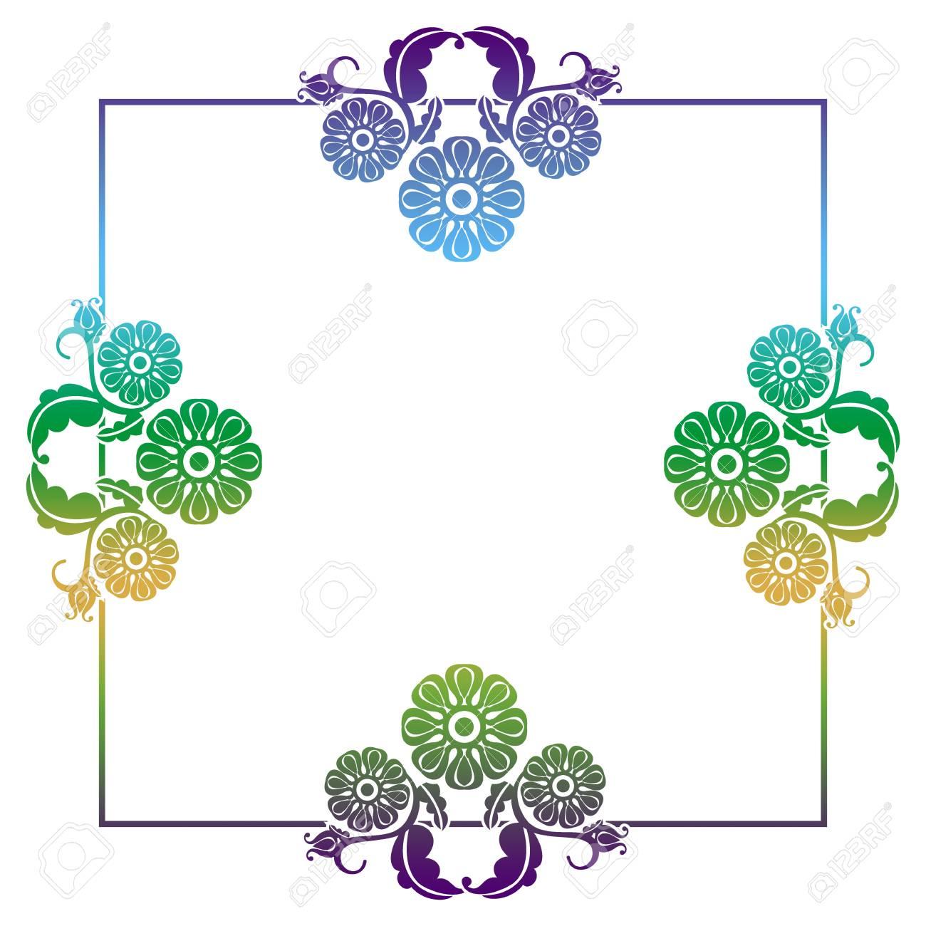Gradient Quadratischen Rahmen Mit Blumen. Platz Kopieren ...