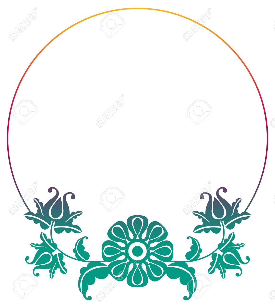 Runder Rahmen Der Steigung Mit Blumen. Kopieren Sie Platz ...