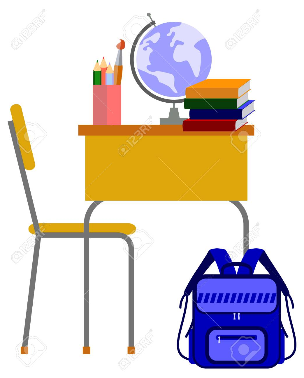 school desk in the classroom vector clip art rh 123rf com school desk clipart black and white empty school desk clipart