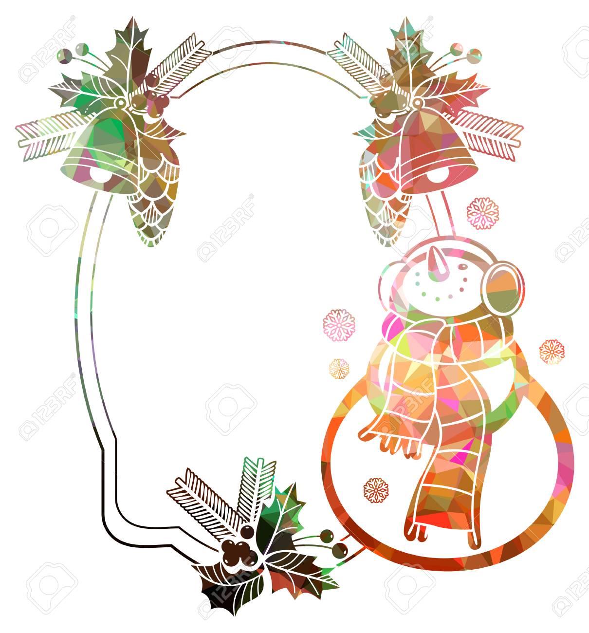 Weihnachtsrahmen Mit Schneemann Und Schneeflocken Ein Weißer ...