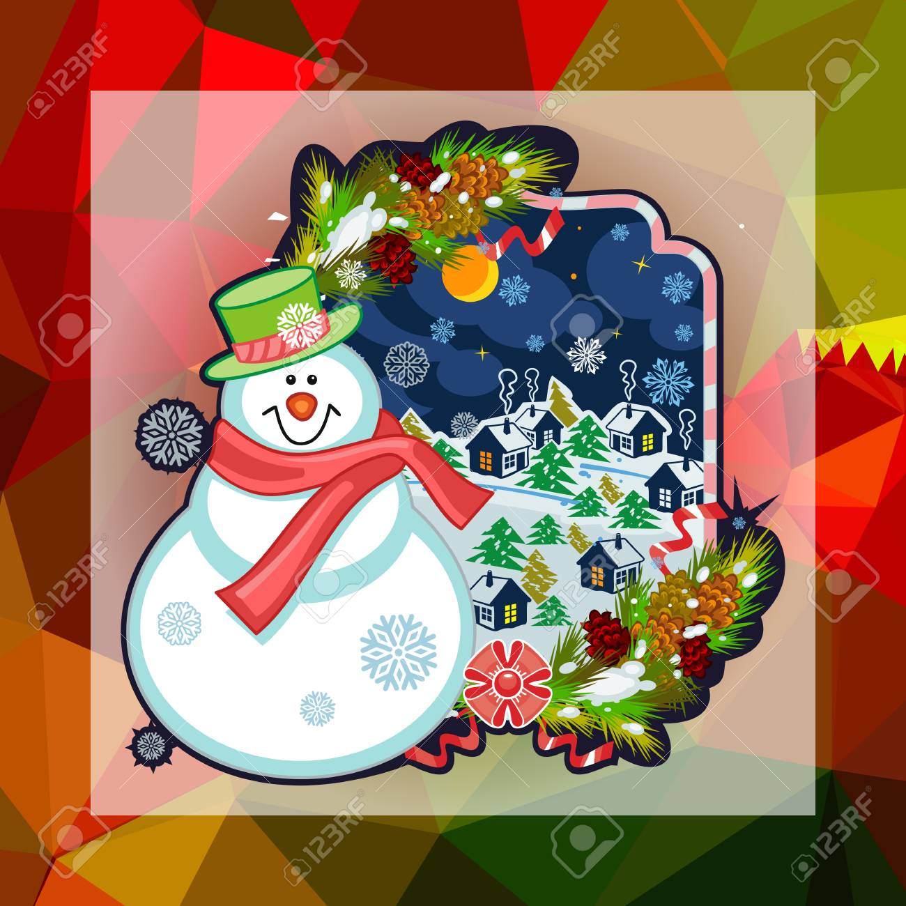 holiday square christmas card with funny snowman and snowing