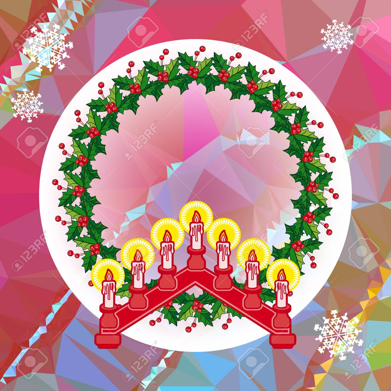 Holiday Background With Christmas Garland And Candlestick Copy