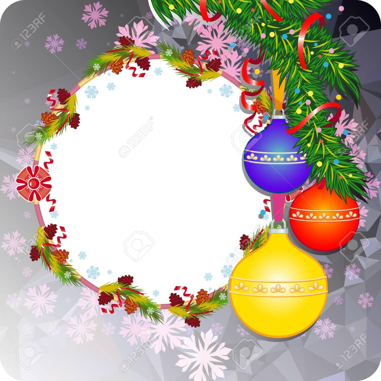 Winterurlaubhintergrund Mit Weihnachtsverzierungen, Schneeflocken ...
