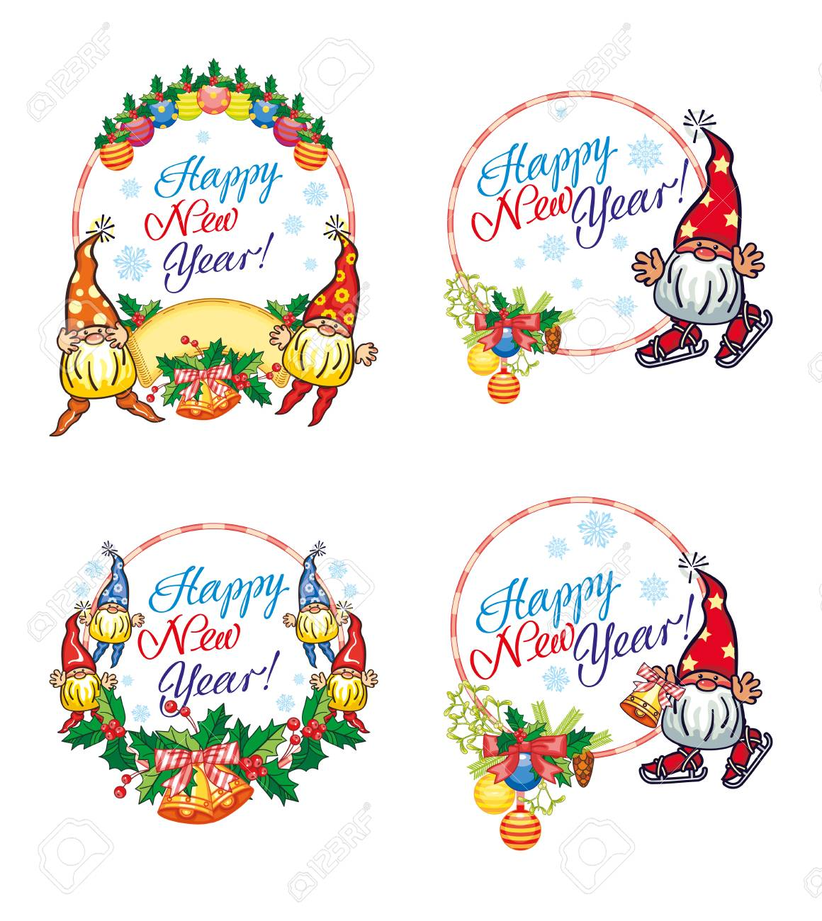 Set Of Holiday Labels With Christmas Decorations, Funny Gnomes ...