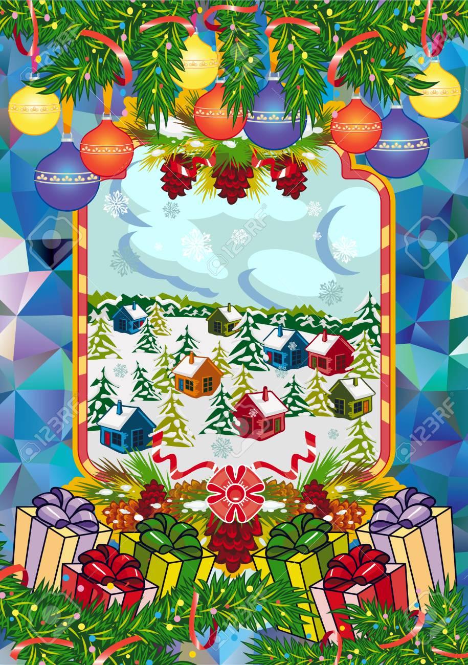 Paysage De Noel A Imprimer.Carte De Vacances D Hiver Avec Des Branches De Pin Et Paysage De Village D Hiver Forêt Flocons De Neige Branche De Pin Cônes Décoration De Noël