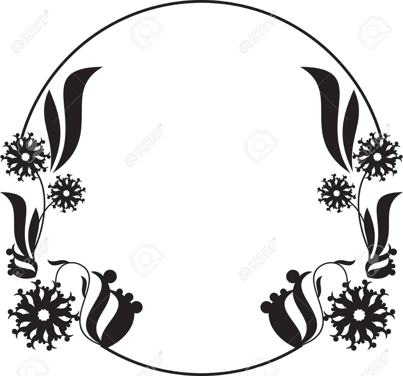 black and white round frame with floral silhouettes copy space rh 123rf com flame vectors frame vector png