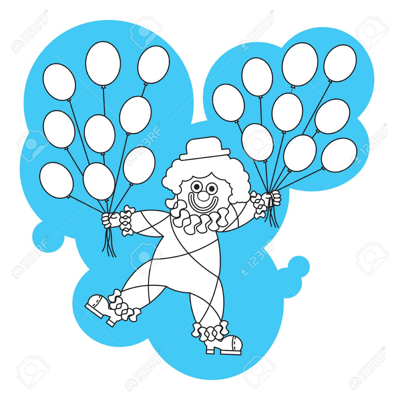 Funny Clown With Balloons. Printable Coloring Page For Kids Royalty ...