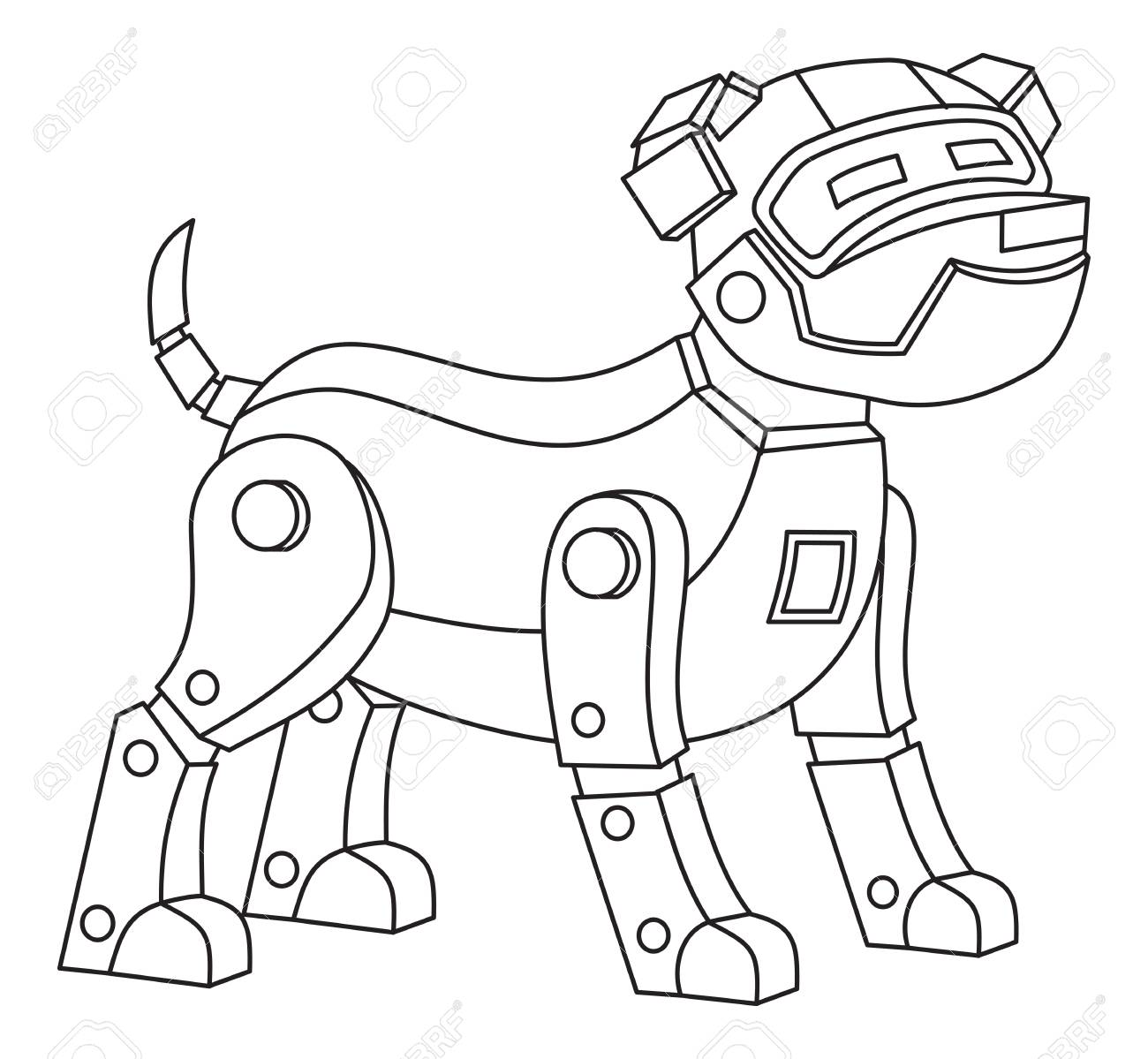 - Robot Dog. Printable Coloring Page For Kids. Lizenzfrei Nutzbare