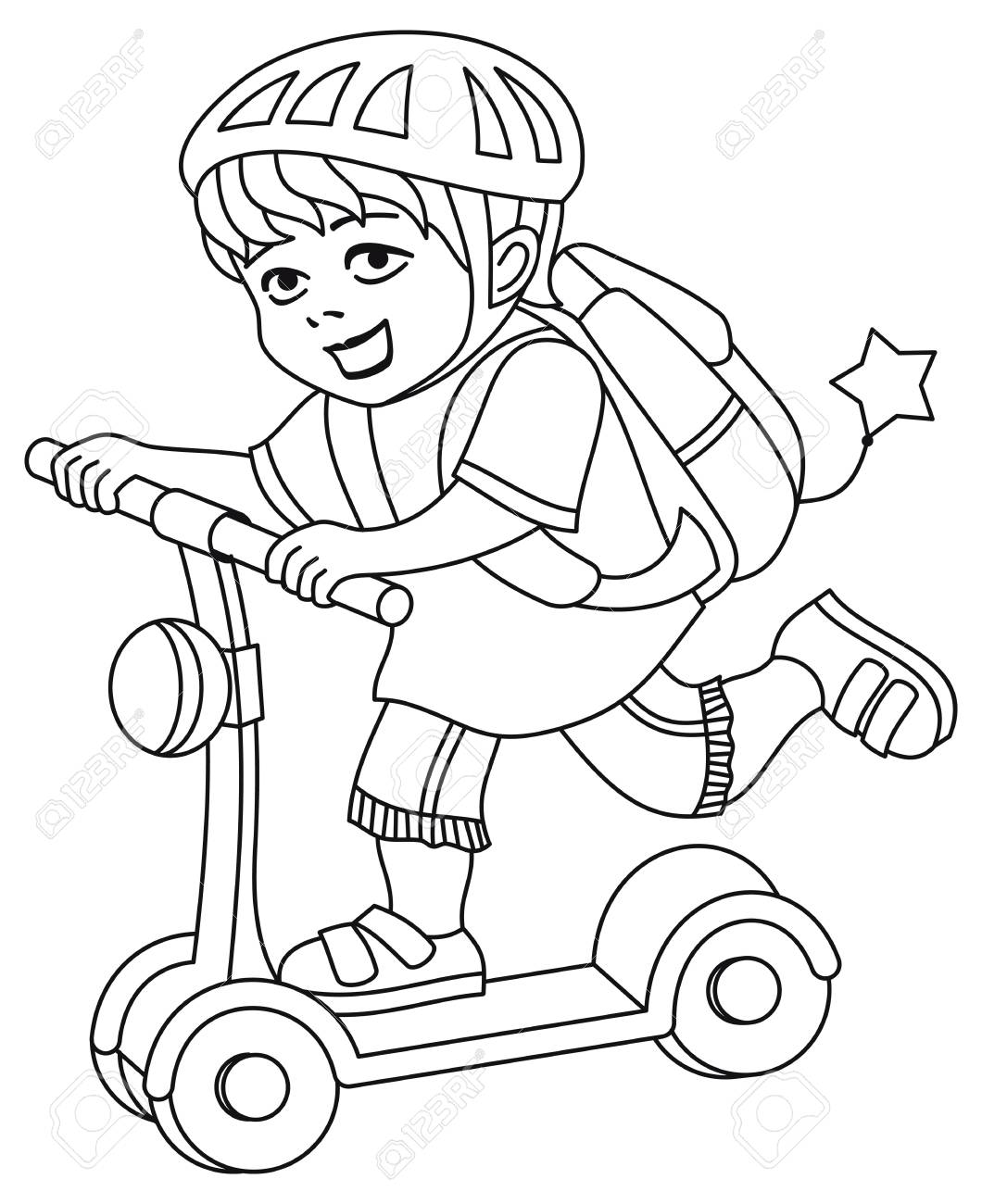 A kid in a bike helmet and with a backpack on his back rides..