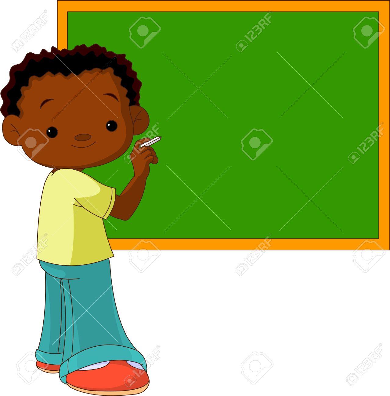 Cute Boy Writing Something on the Blackboard Stock Vector - 9782444
