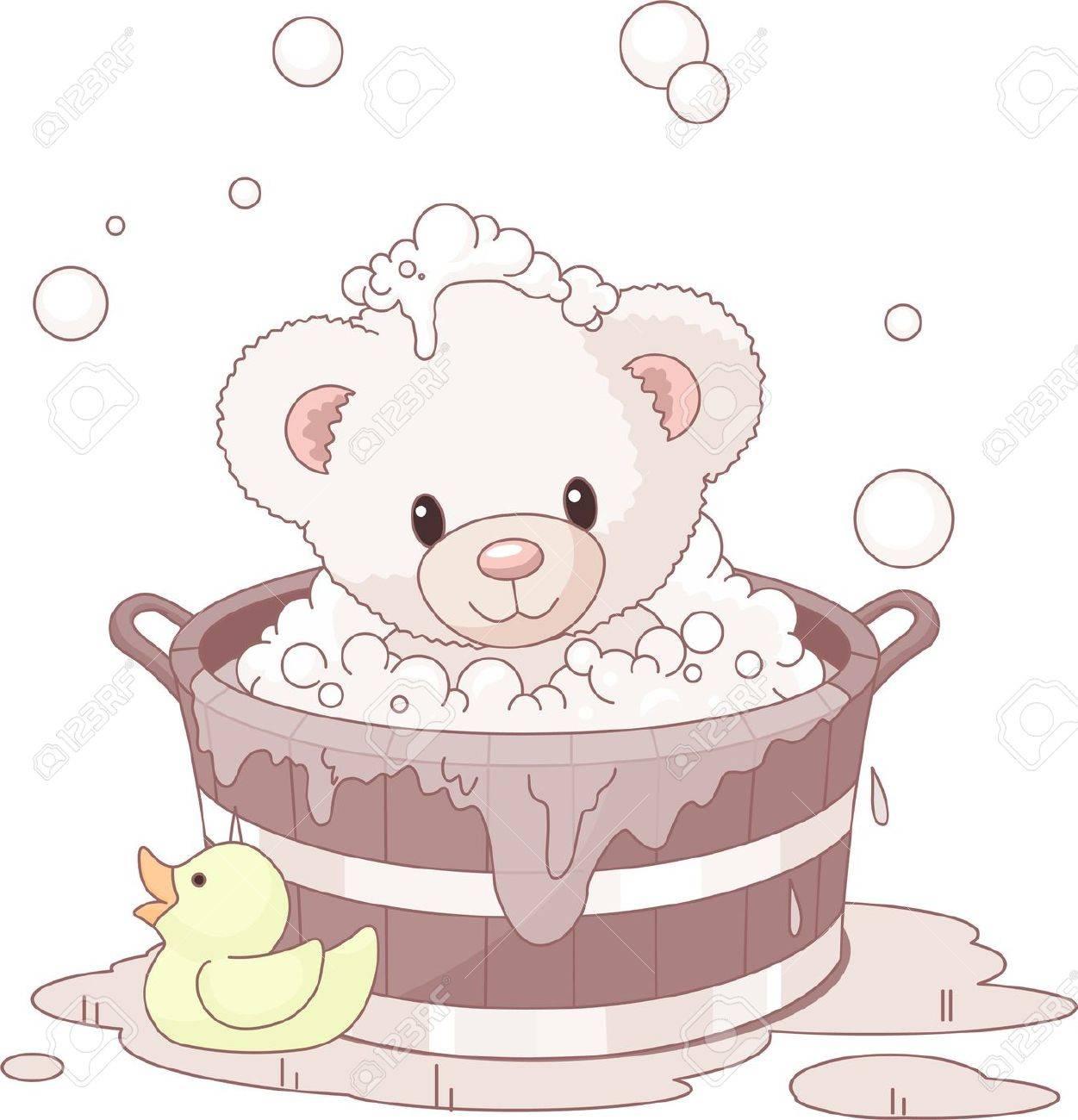 Cute Teddy Bear takes bubble bath Stock Vector - 9782448