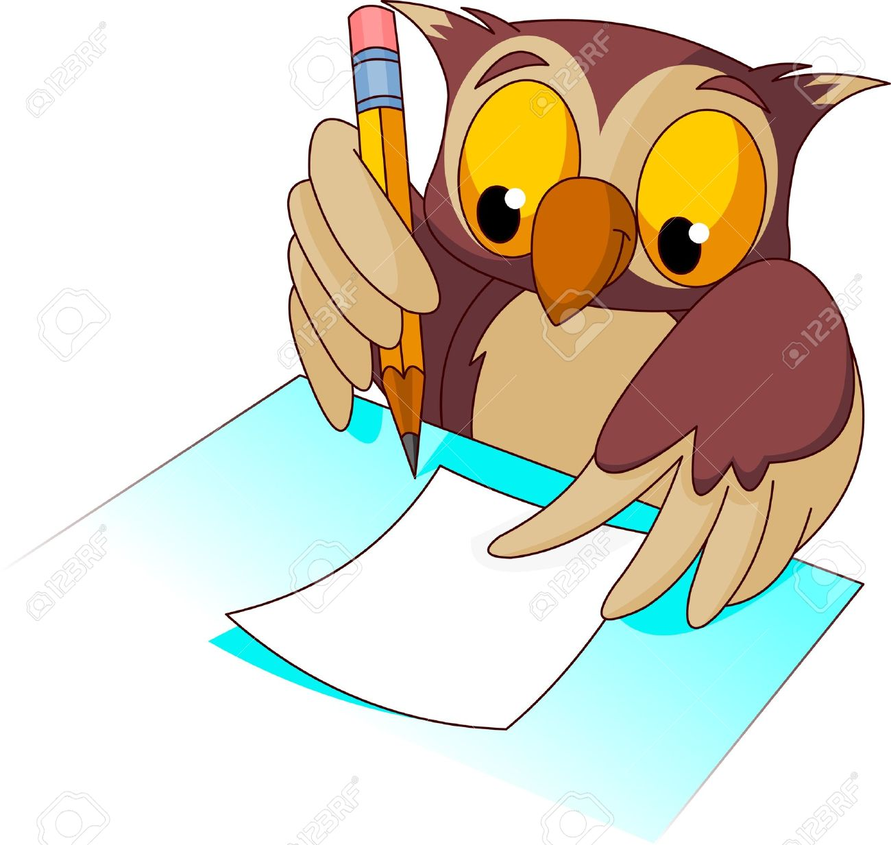 wise owl holding pencil ready to write royalty free cliparts rh 123rf com Girl Writing Clip Art Owl Clip Art