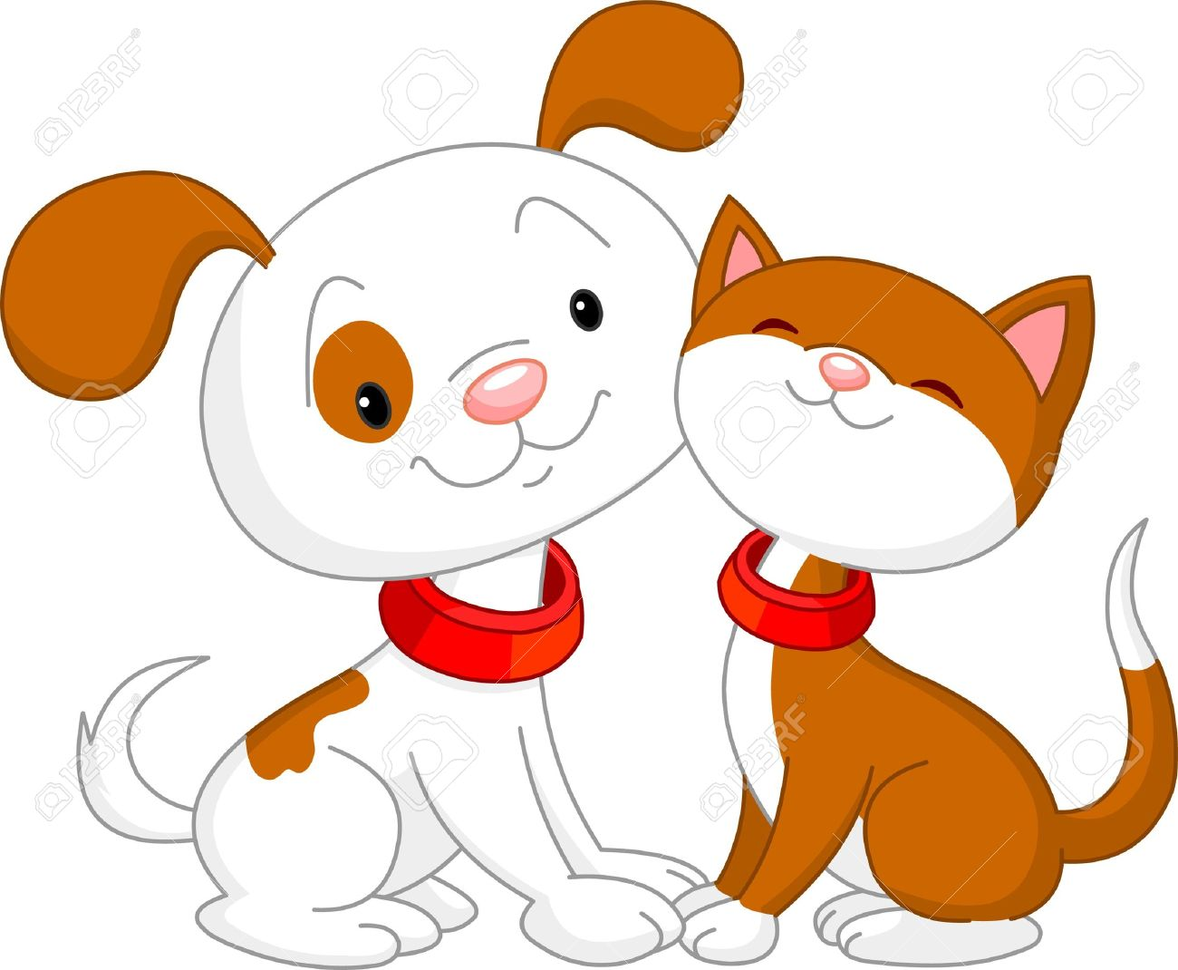 Cute Cat And Dog Sitting Together Royalty Free Cliparts Vectors And Stock Illustration Image 9782514