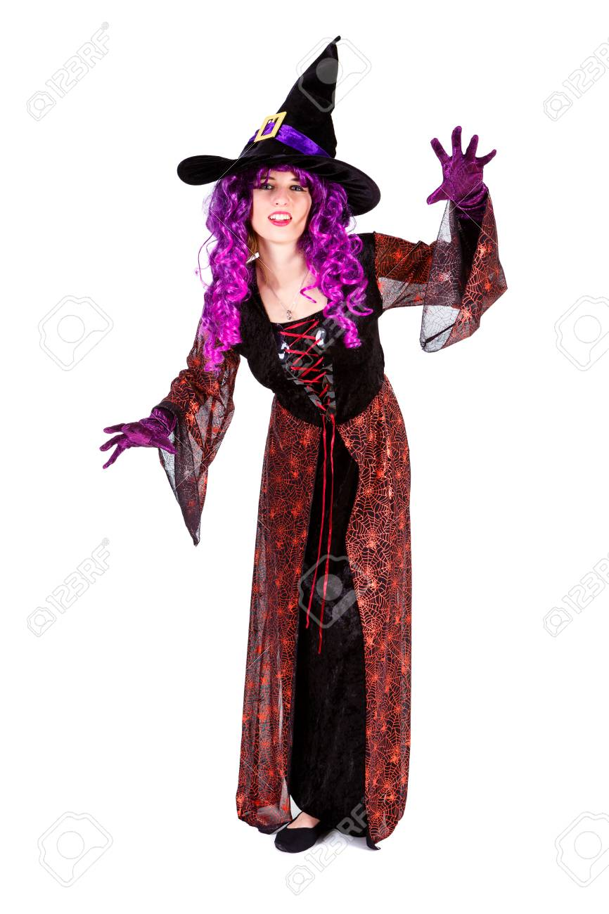 Stock Photo   Young Lady Dressed In Halloween Witch Costum Carnaval, Show  Emotions Of Witch On White Isolated Background
