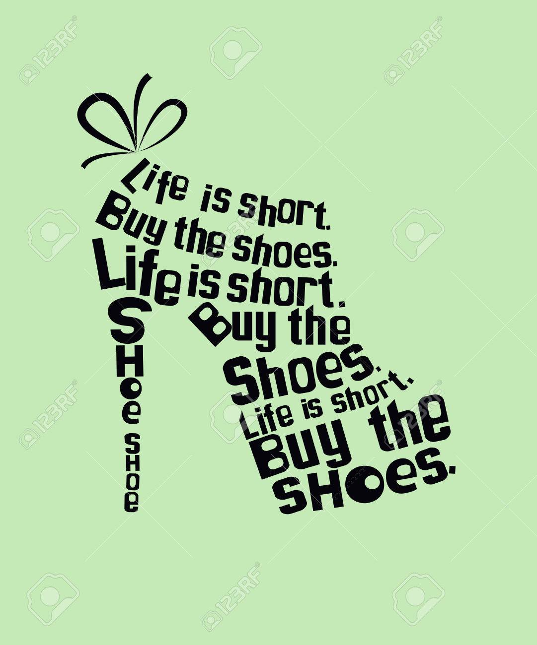 Fashion colored woman Shoe made from quotes