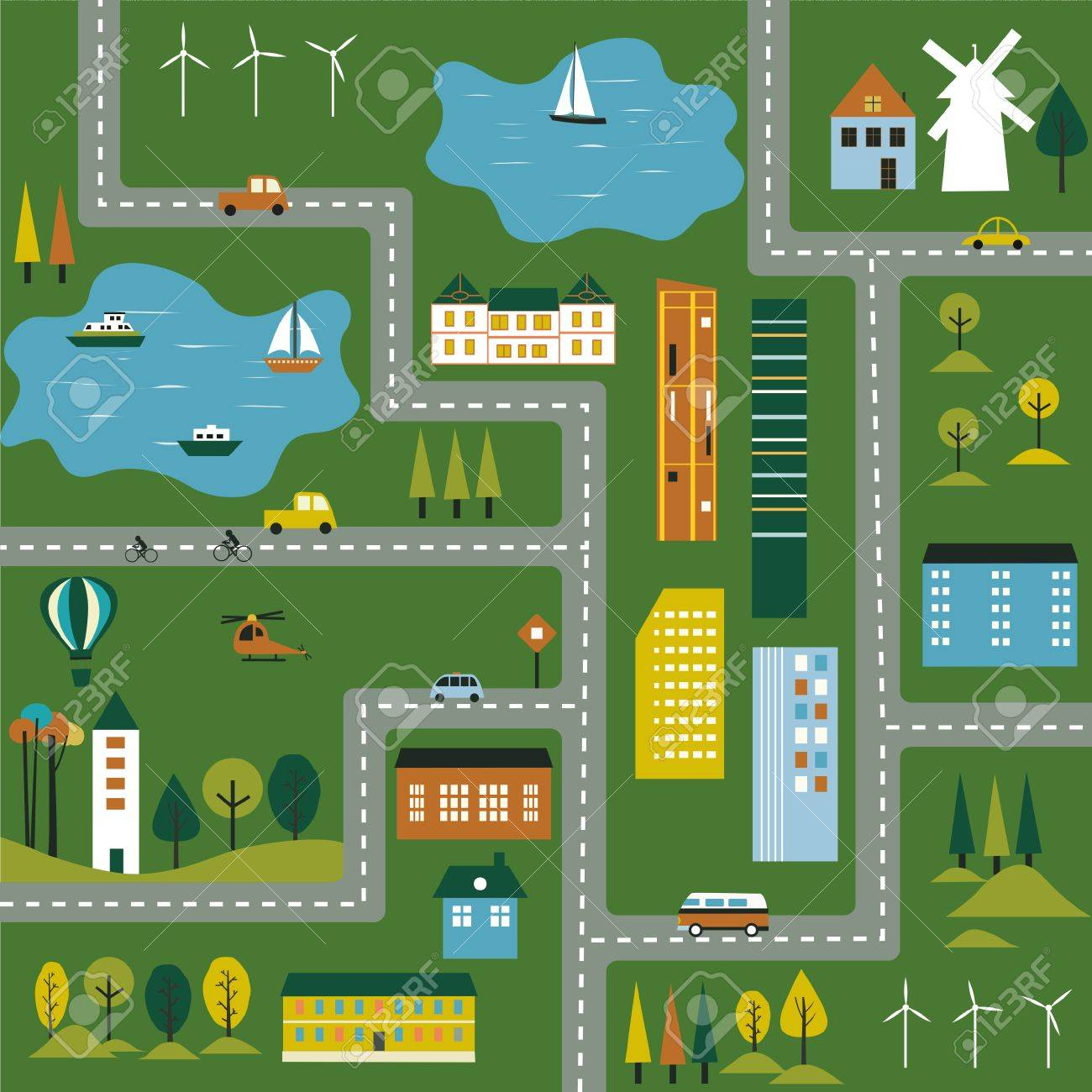 Map Of The City Cartoon Illustration Of A Map Of The City. Vector Stock Photo