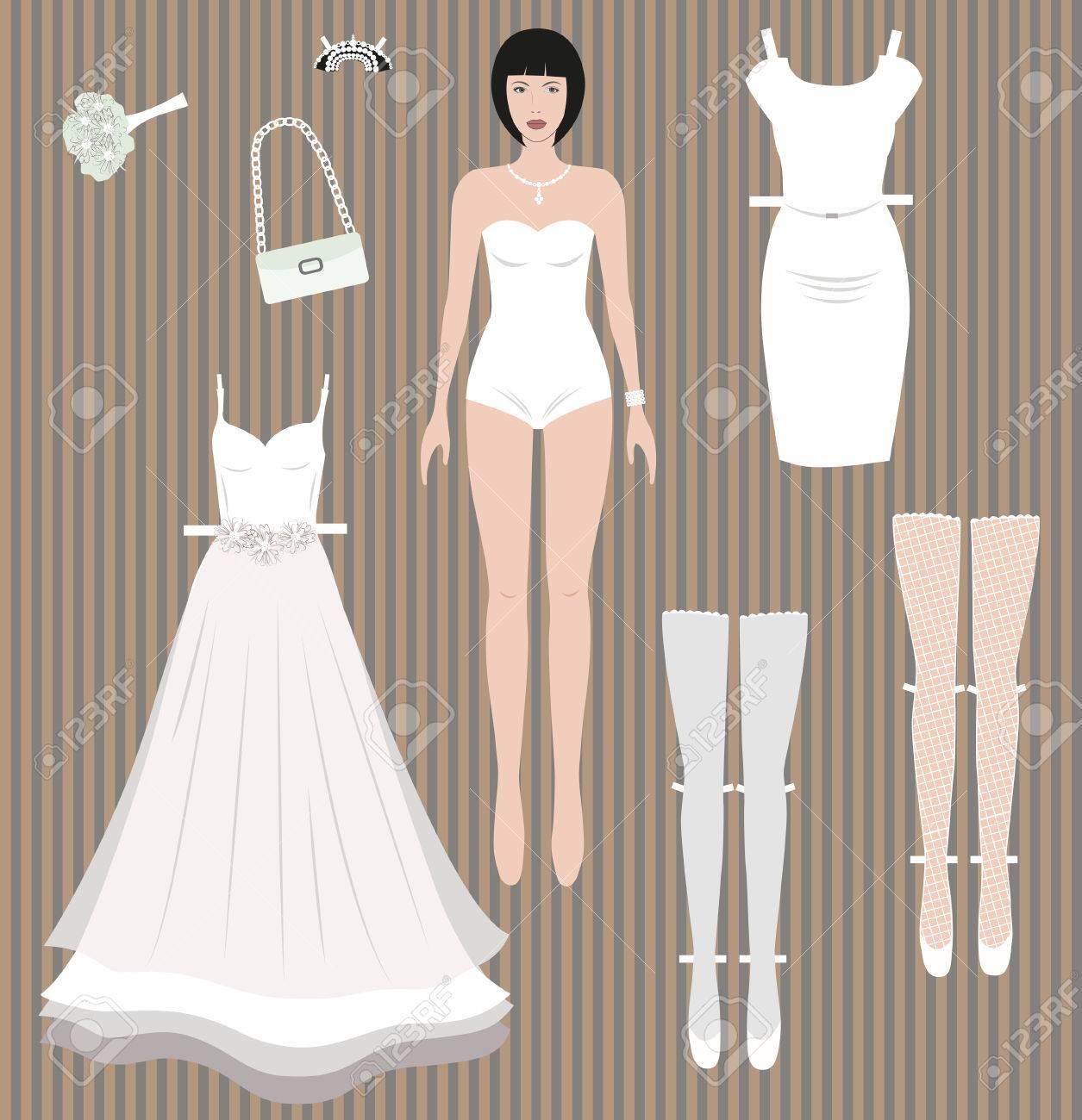 Vestir A La Muñeca De Papel Novia Vestido De Novia Y Accesorios Redy Para Recortar Y Jugar