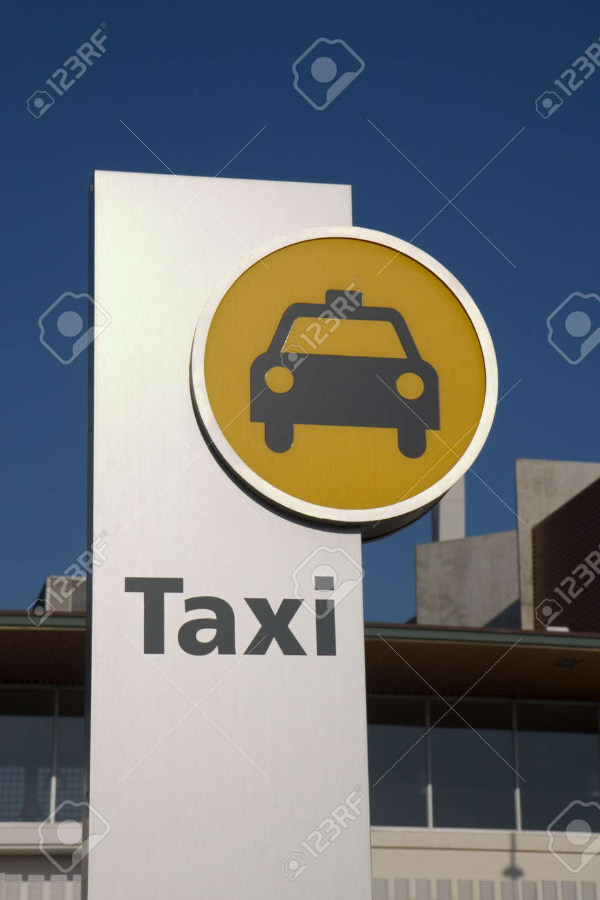 A modern taxi stand sign in Barcelona Stock Photo - 740787