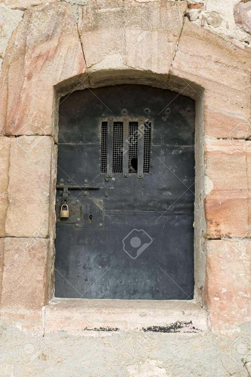 Ancient metal door in Montjuic Castle, Barcelona, Catalonia, Spain Stock Photo - 795494