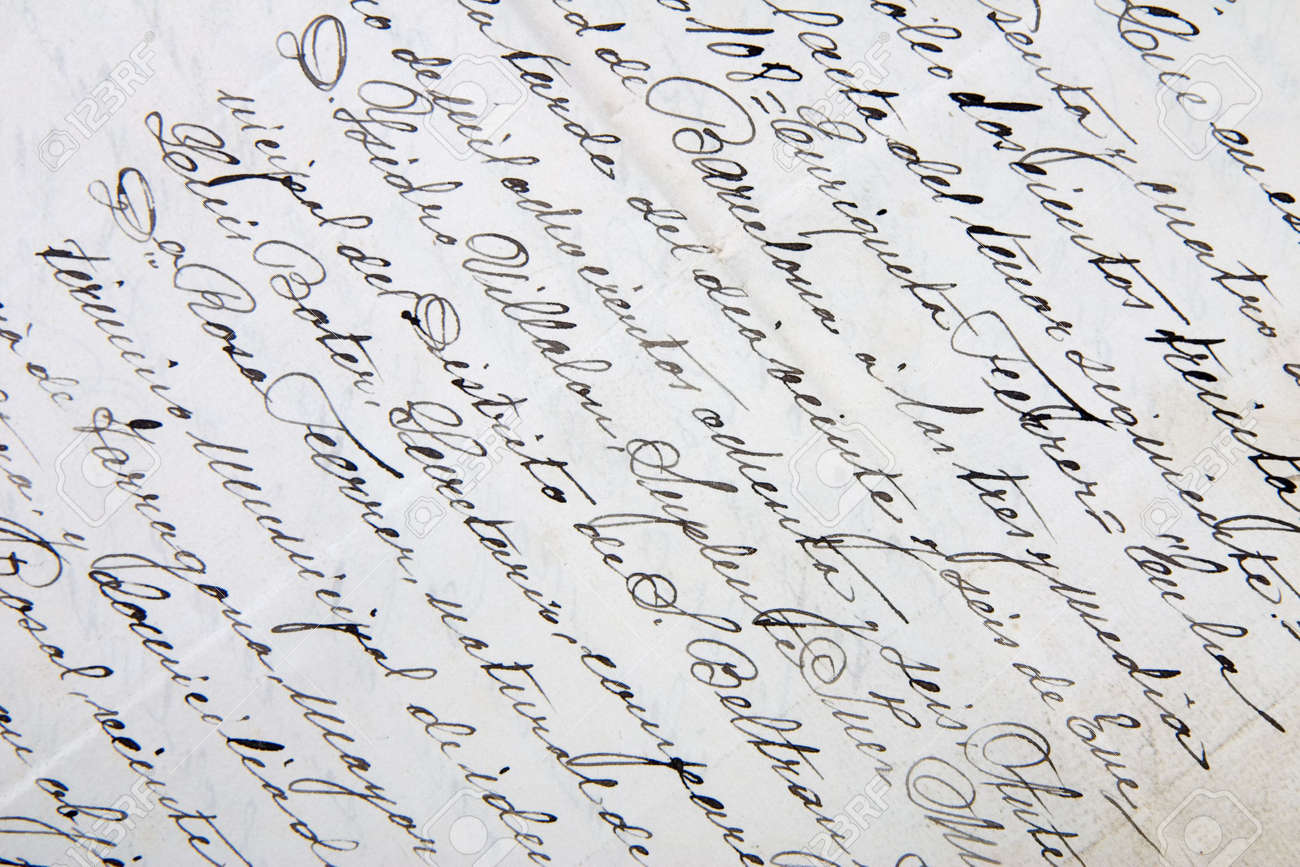 A CloseUp Of An Old Handwritten Letter Stock Photo Picture And