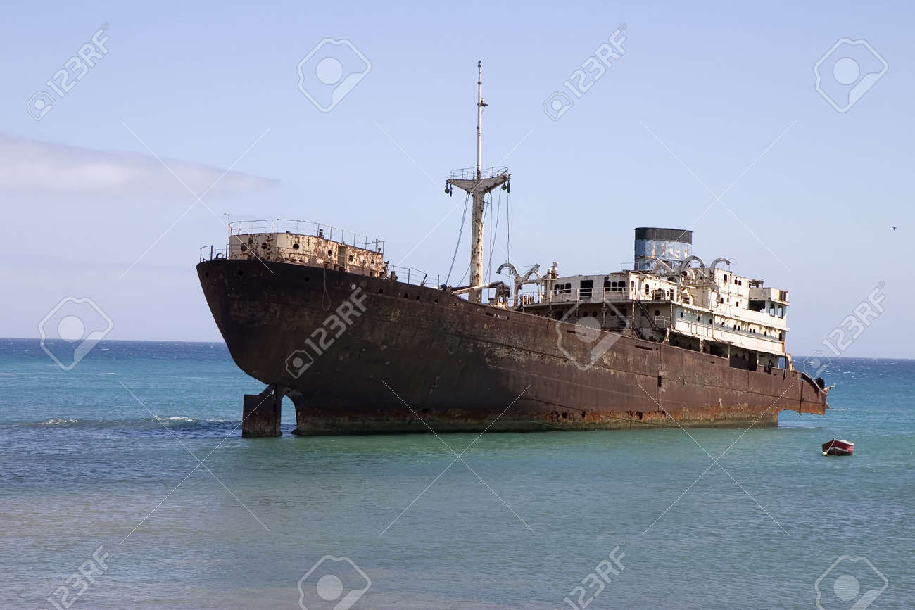 Temple Hall wreck in Costa Teguise, Lanzarote, Canary Islands, Spain Stock Photo - 1771184