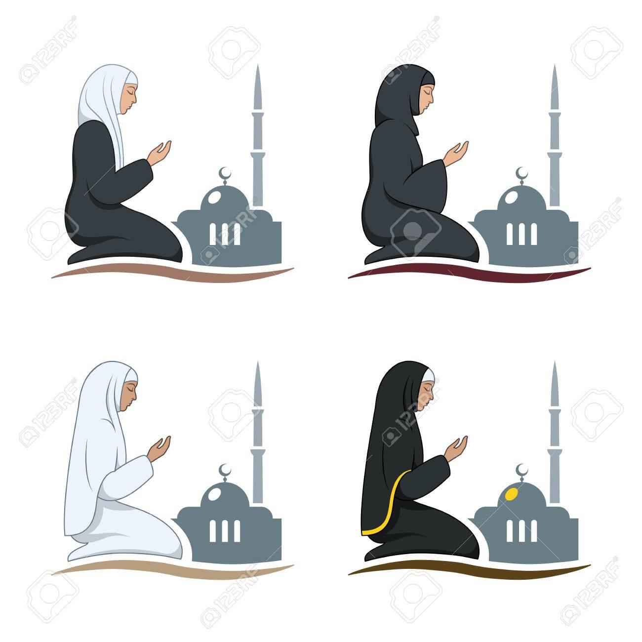Traditionally clothed muslim woman making a supplication (salah)