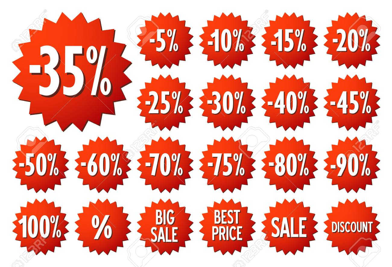 Sale Vector Label Icons Discount Stickers Set For Shop Retail Promotion Best Price Big Sale 35 Special Offer Discount Icons