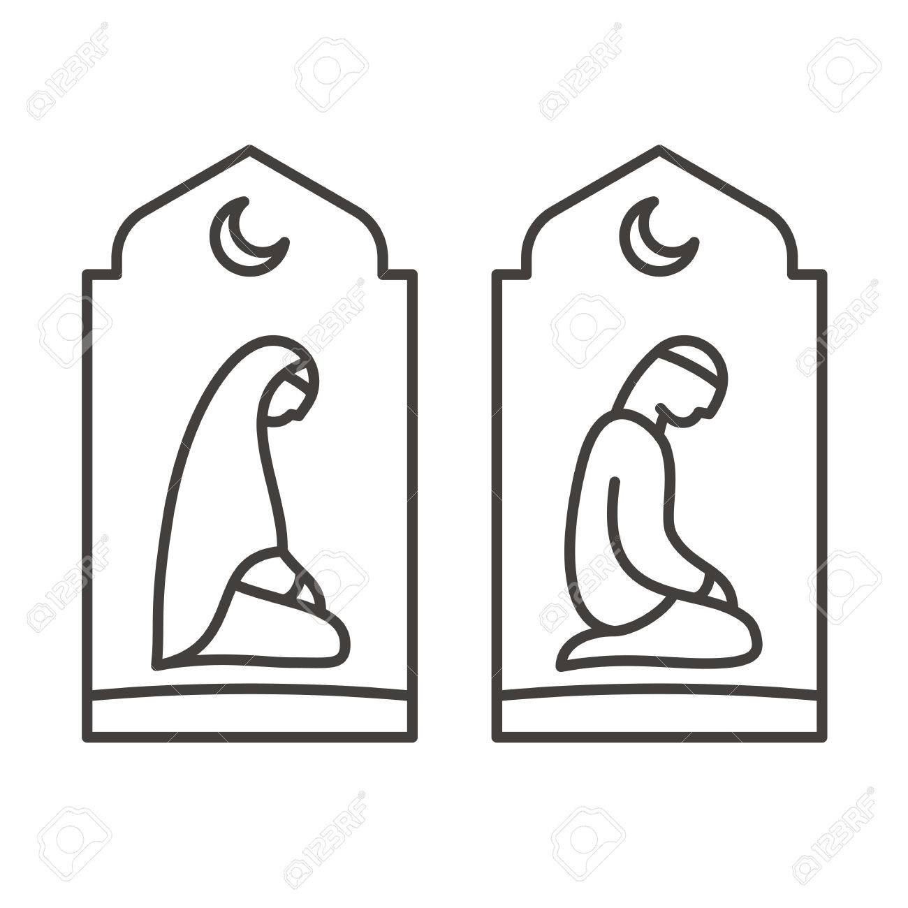 Muslim Man And Woman Making A Supplication While Sitting On A
